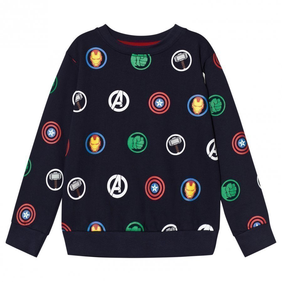 Fabric Flavours Navy Avengers Multi Logo Repeat Sweatshirt Oloasun Paita