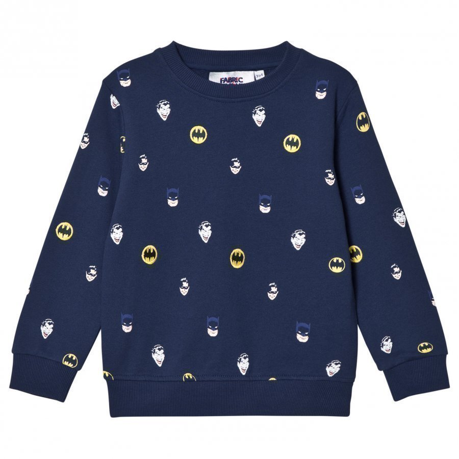 Fabric Flavours Navy Batman Face Print Sweatshirt Oloasun Paita
