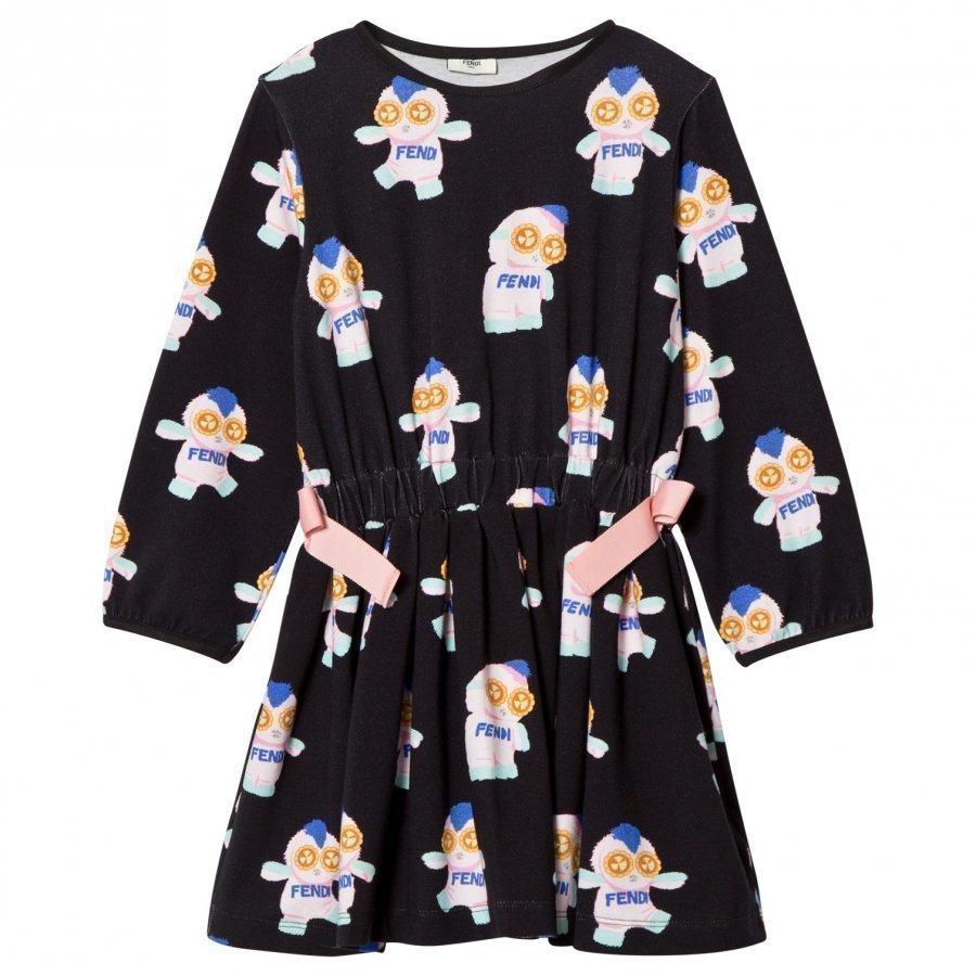 Fendi Black Fendirumi All Over Print Dress Mekko