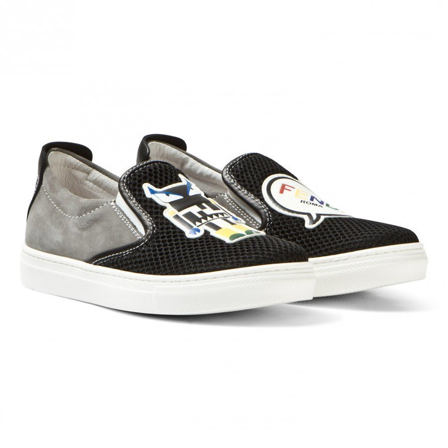 Fendi Black Mesh Monster Slip Ons Lenkkarit