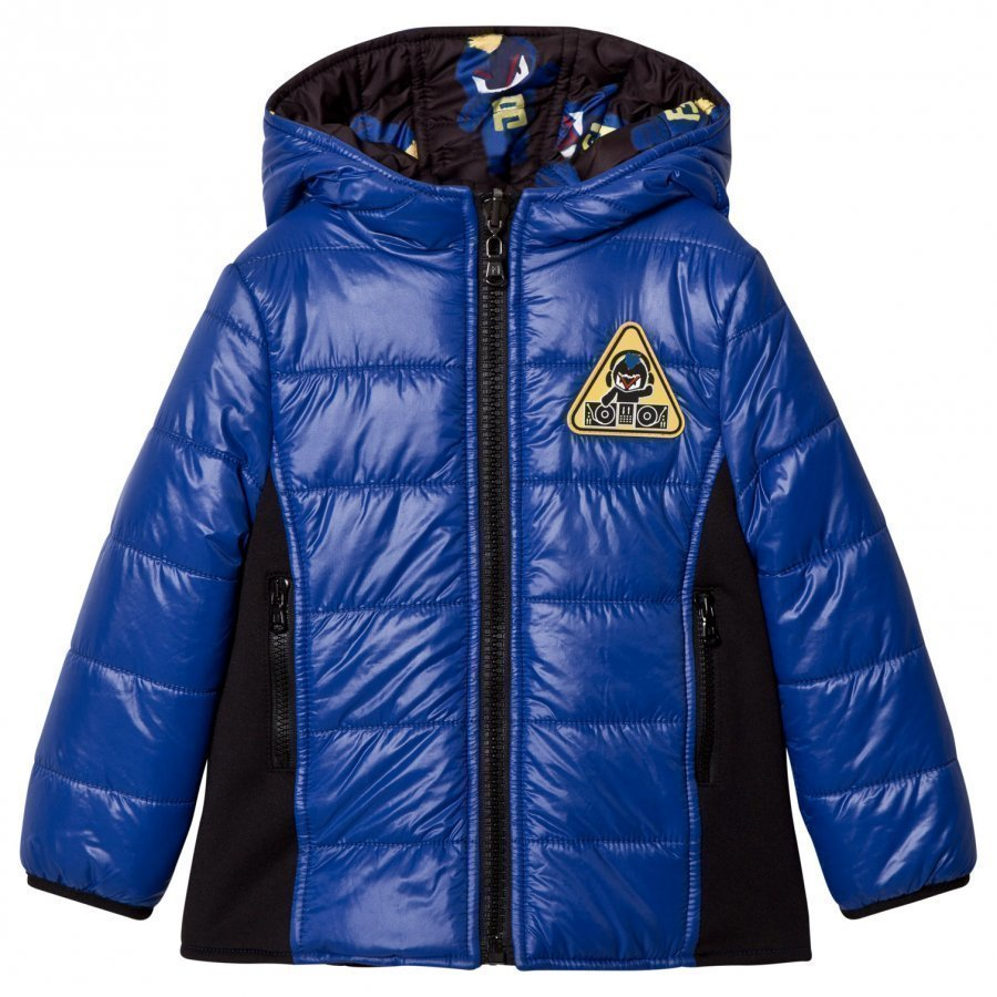 Fendi Blue Fendirumi Print Reversible Puffer Jacket Toppatakki