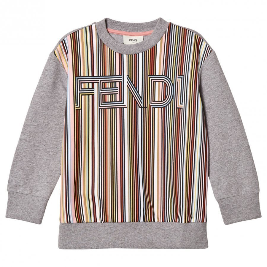Fendi Grey Multi Stripe Branded Sweatshirt Oloasun Paita