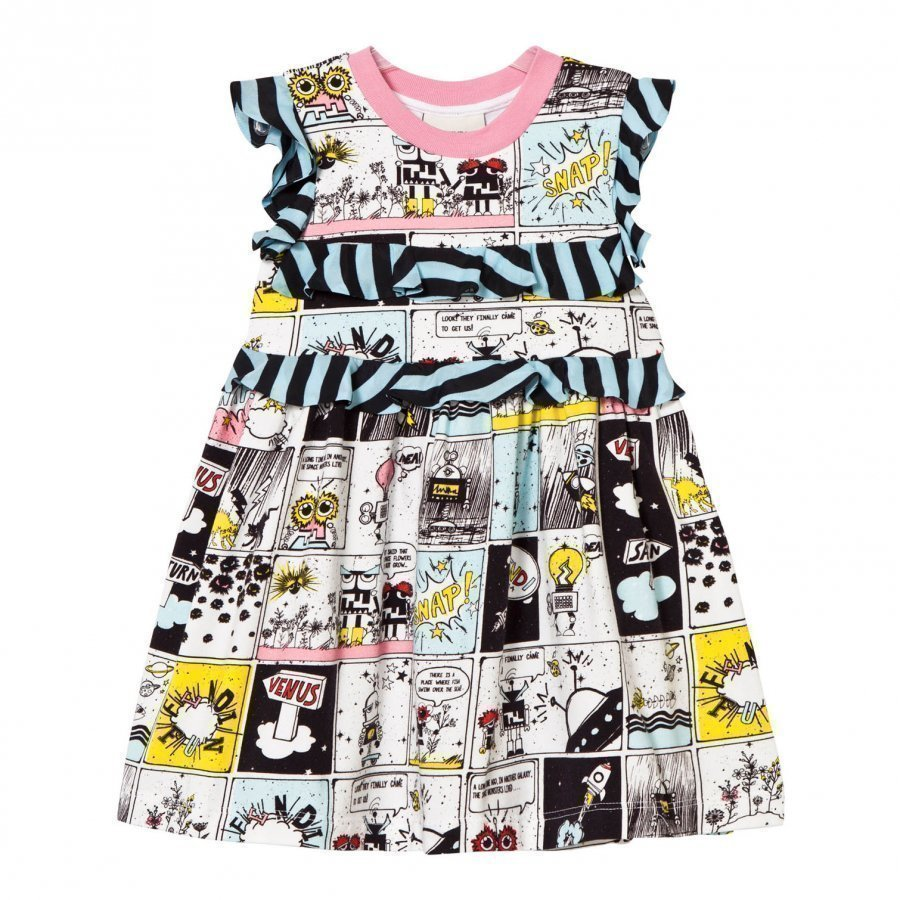 Fendi Multi Space Monster Print Frill Dress Juhlamekko