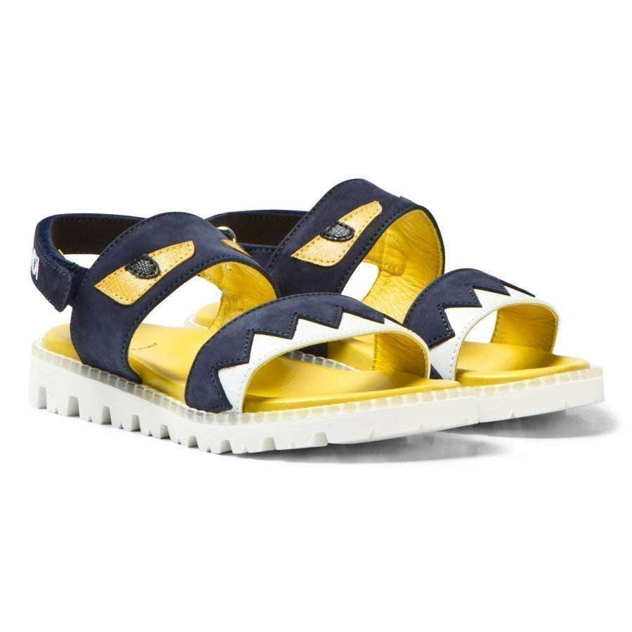 Fendi Navy Denim Monster Sandals Remmisandaalit