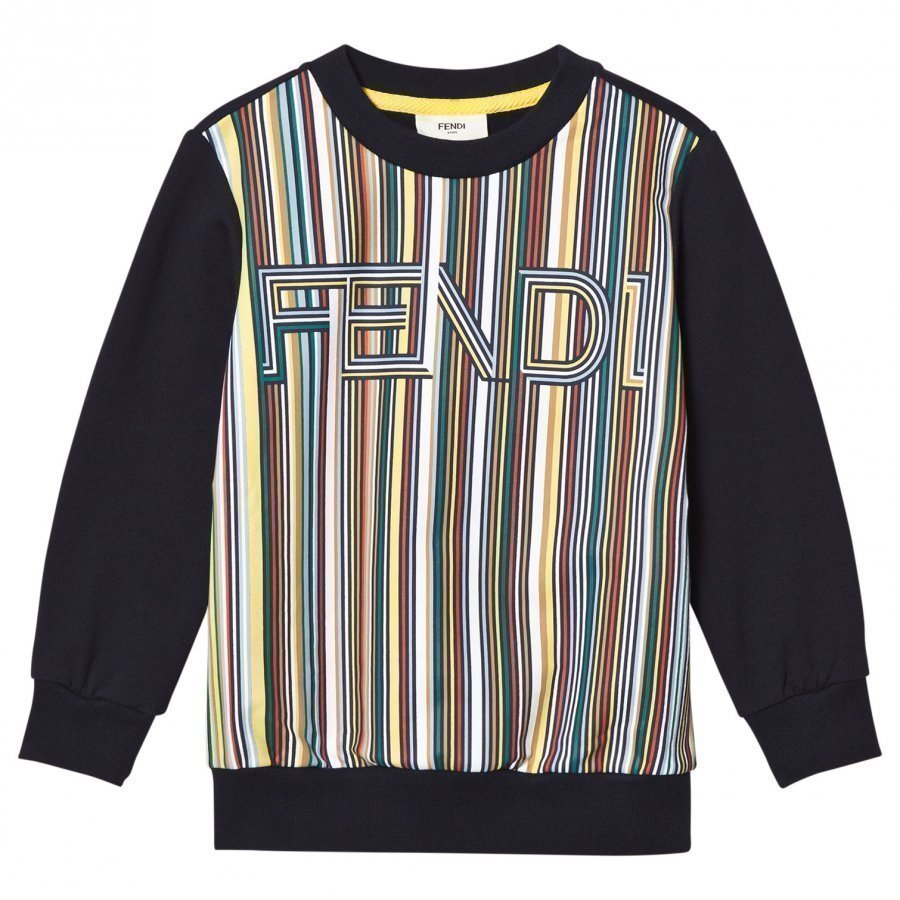 Fendi Navy Multi Stripe Branded Sweatshirt Oloasun Paita