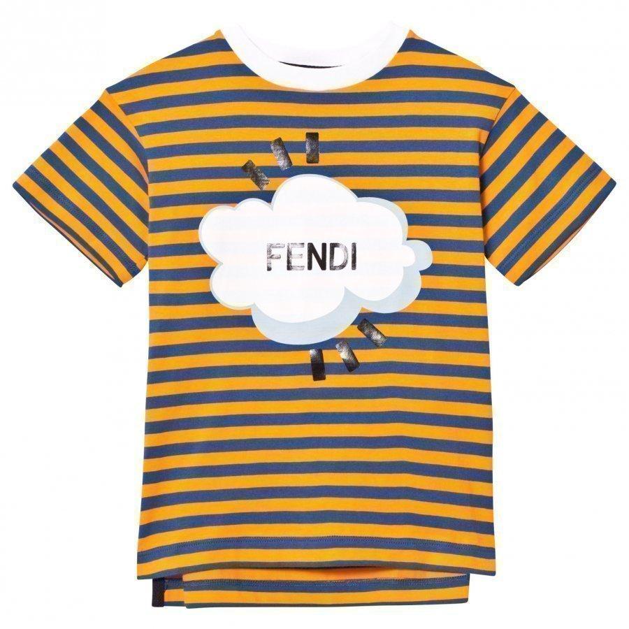 Fendi Orange Navy Stripe Branded Tee T-Paita
