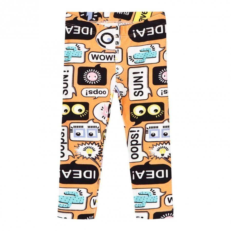 Fendi Orange Text Print Leggings Legginsit