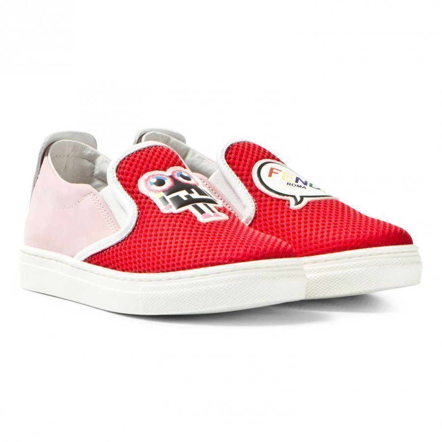 Fendi Red Mesh Monster Slip Ons Lenkkarit