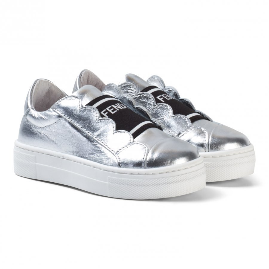 Fendi Silver Leather Branded Sneakers Lenkkarit