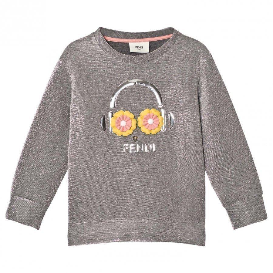 Fendi Silvver Lurex Metallic Fendirumi And Daisy Oversize Sweatshirt Oloasun Paita