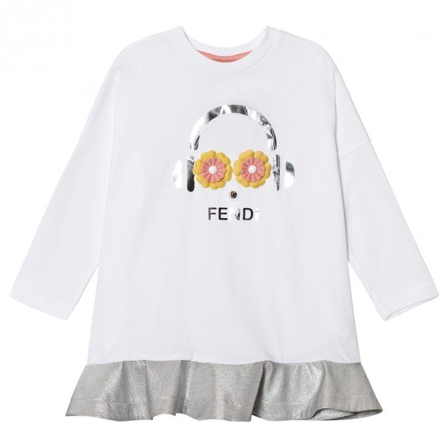 Fendi White And Silver Fendirumi Jesey And Woven Dress Mekko