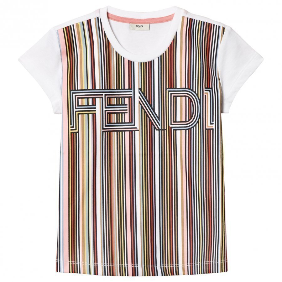 Fendi White Multi Stripe Fendi Tee T-Paita