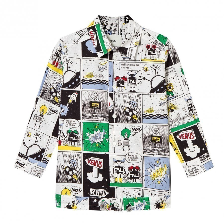 Fendi White Space Monster Cartoon Print Shirt Kauluspaita