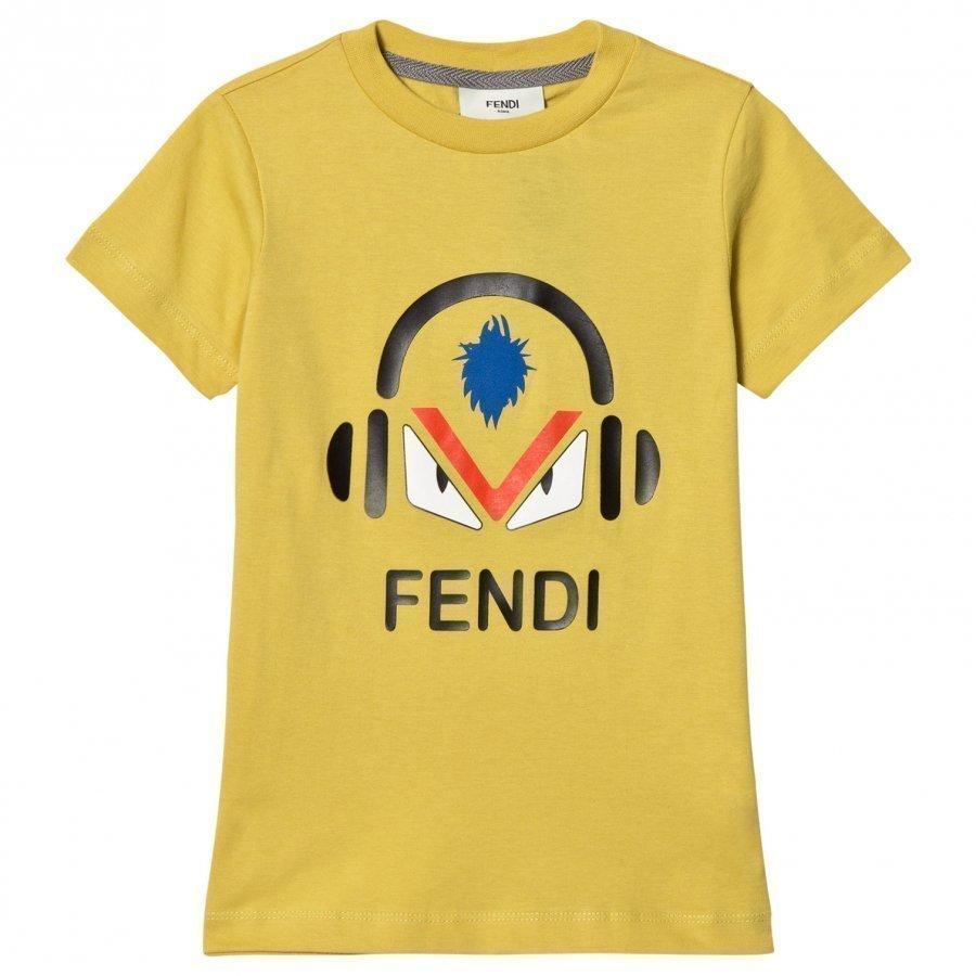 Fendi Yellow Monster Print Tee T-Paita