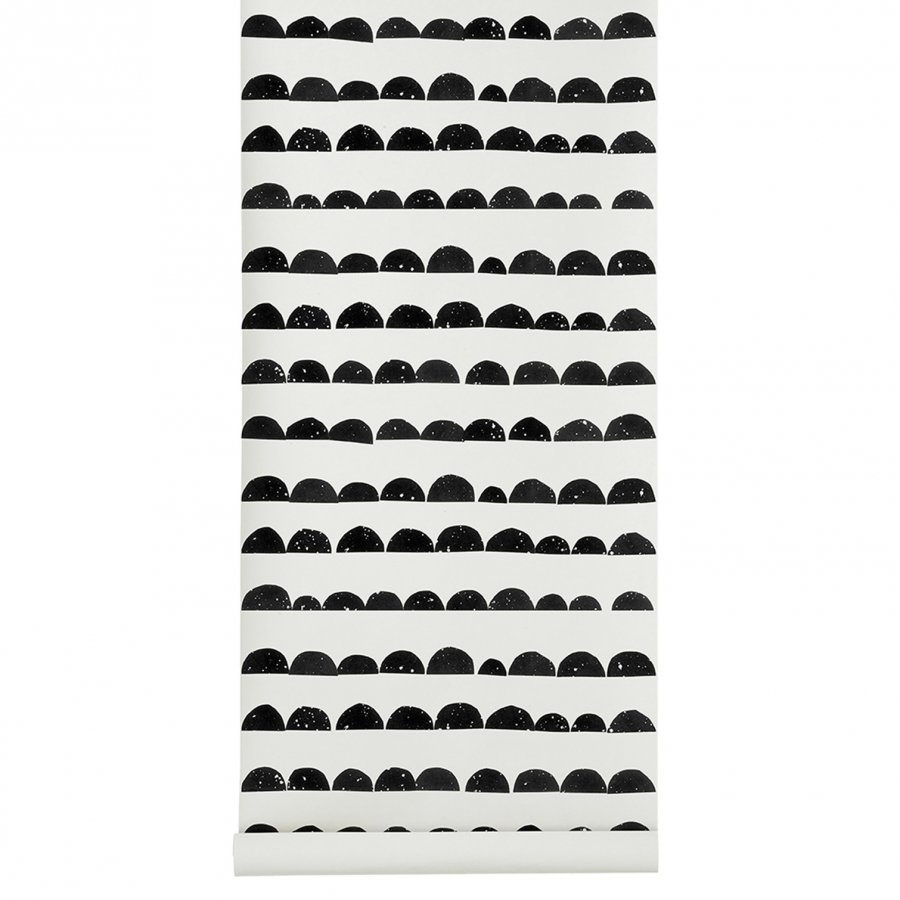 Ferm Living Half Moon Wallpaper Black Tapetti