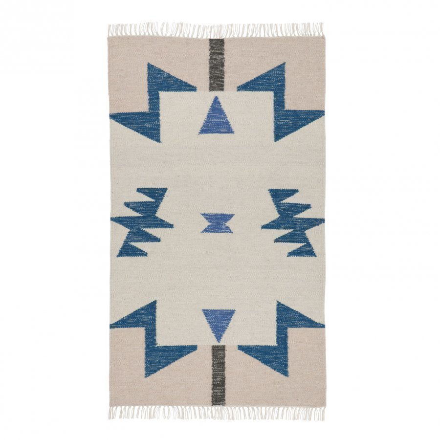 Ferm Living Kelim Rug Blue Triangles Small Matto