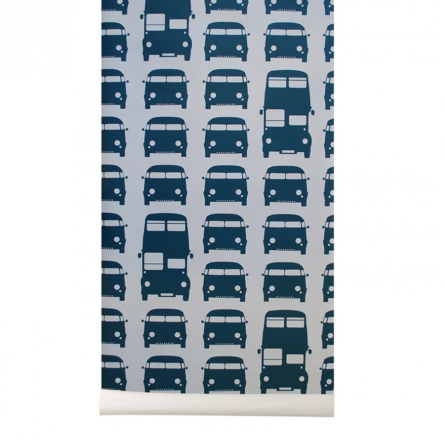 Ferm Living Rush Hour Wallpaper Petrol Tapetti