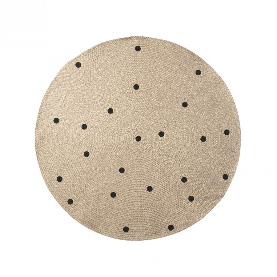 Ferm Living Small Jute Carpet Black Dots Matto