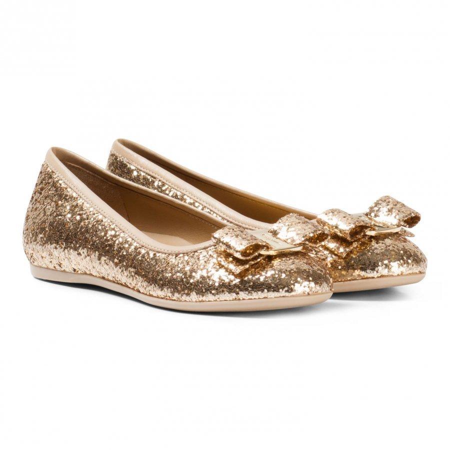 Ferragamo Gold Varina Glitter Pumps Ballerinat