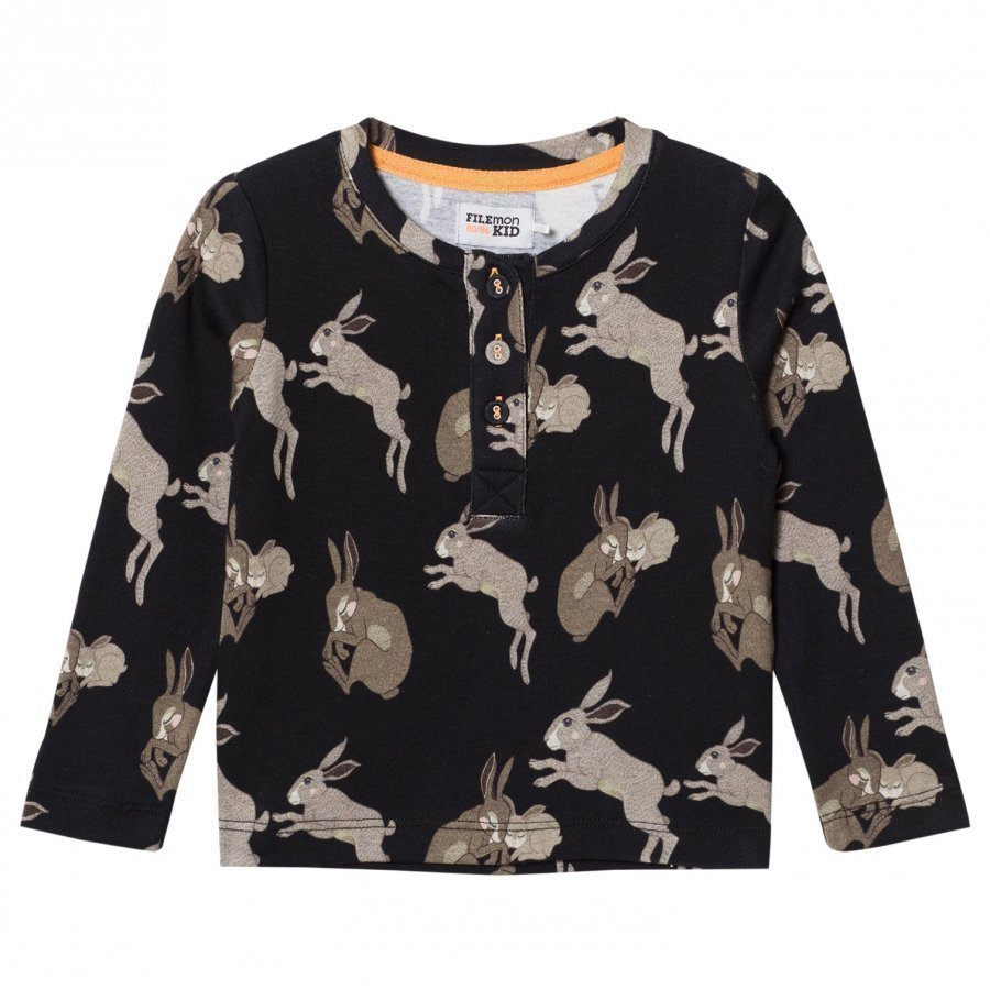 Filemon Kid Long Sleeve T-Shirt Bunnies Anthracite Pitkähihainen T-Paita