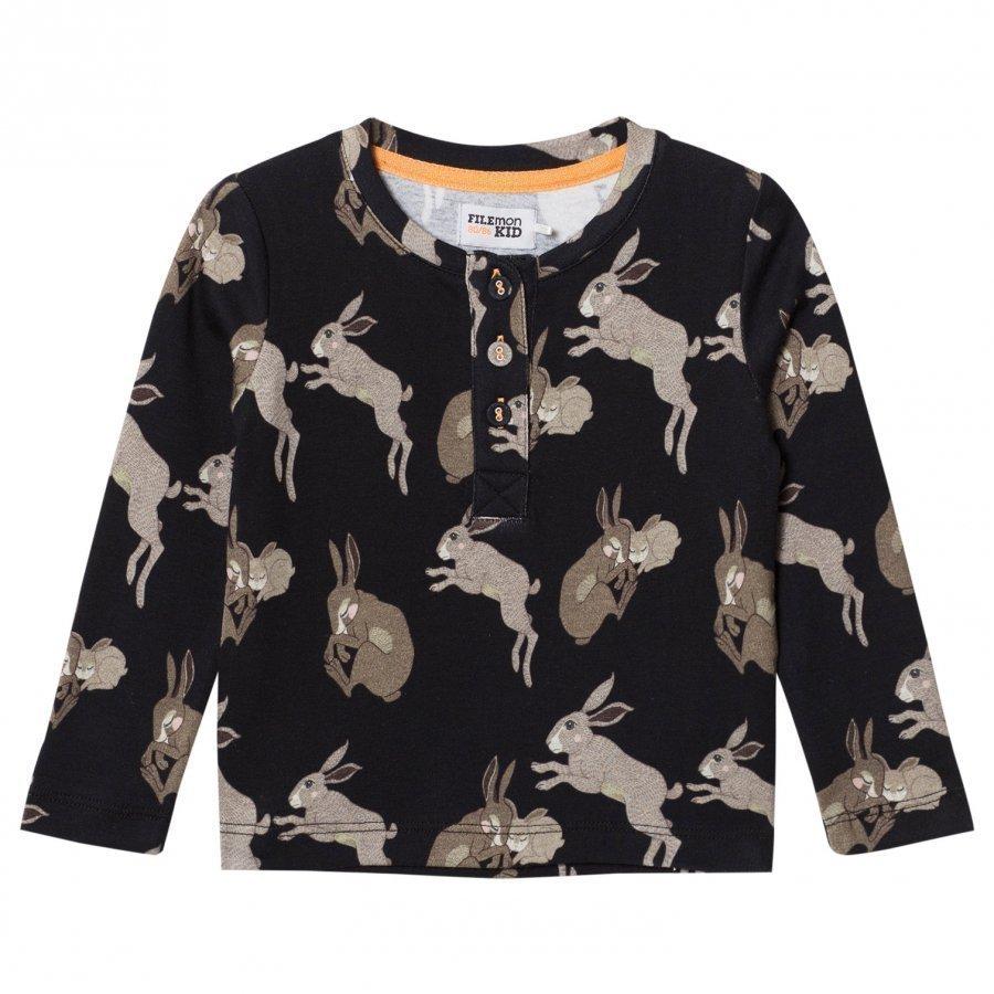 Filemon Kid Long Sleeve T-Shirt Bunnies Anthracite Pitkähihainen T-Paita