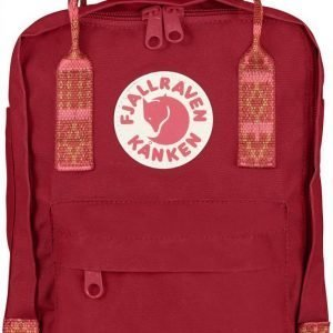 Fjällräven Kånken Mini Reppu Deep Red / Folk Pattern