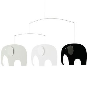 Flensted Mobiles Elephant Party Mobile Musta / Valkoinen