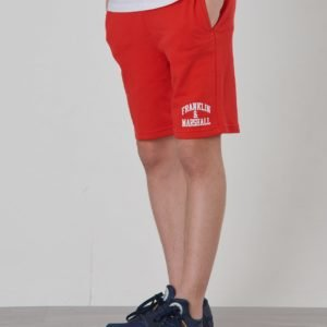 Franklin & Marshall Badge Logo Sweat Shorts Shortsit Punainen