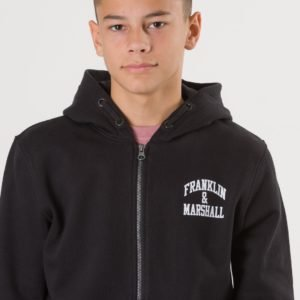 Franklin & Marshall Badge Logo Zip Hoodie Huppari Musta