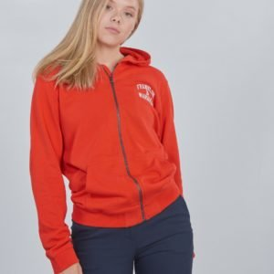 Franklin & Marshall Badge Logo Zip Hoodie Huppari Punainen
