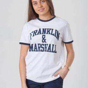 Franklin & Marshall Ringer Logo Tee T-Paita Valkoinen