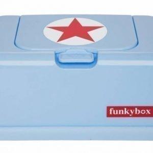 Funkybox Säilytysrasia puhdistuspyyhkeille Vaaleansininen/punainen