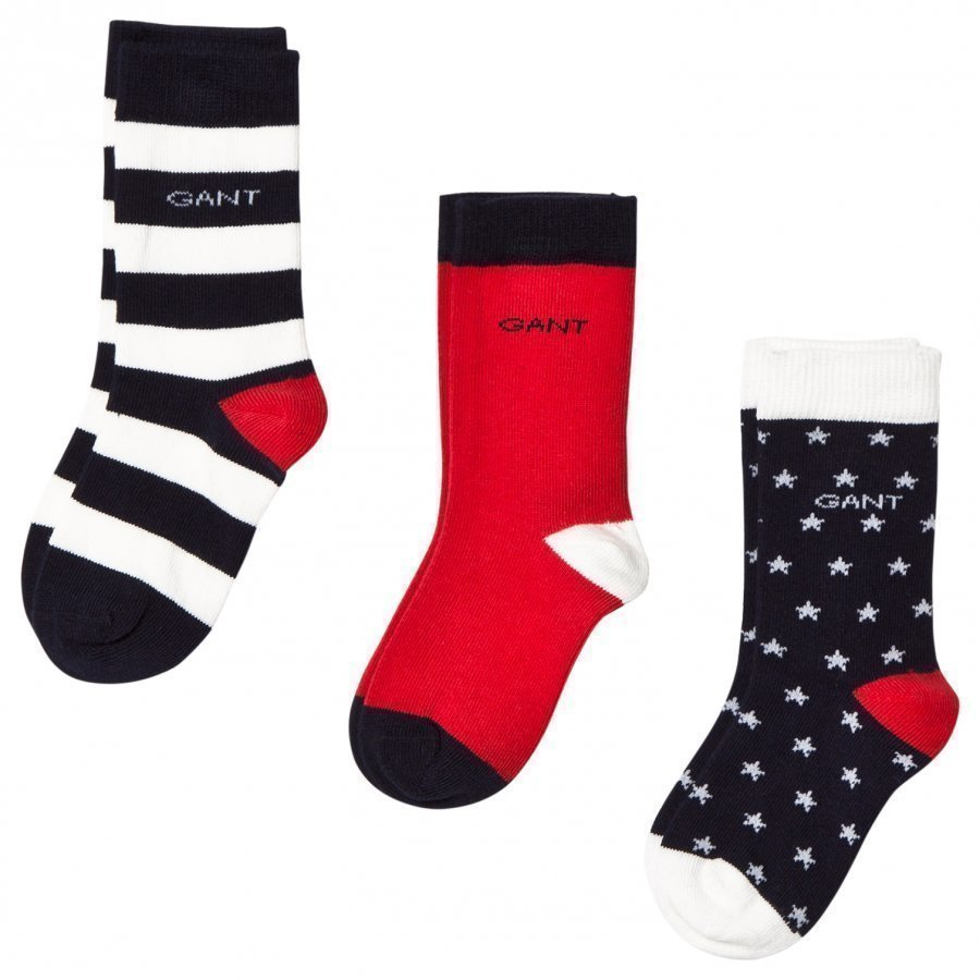 Gant 2 Pack Navy And Red Stars And Stripe Socks Sukat