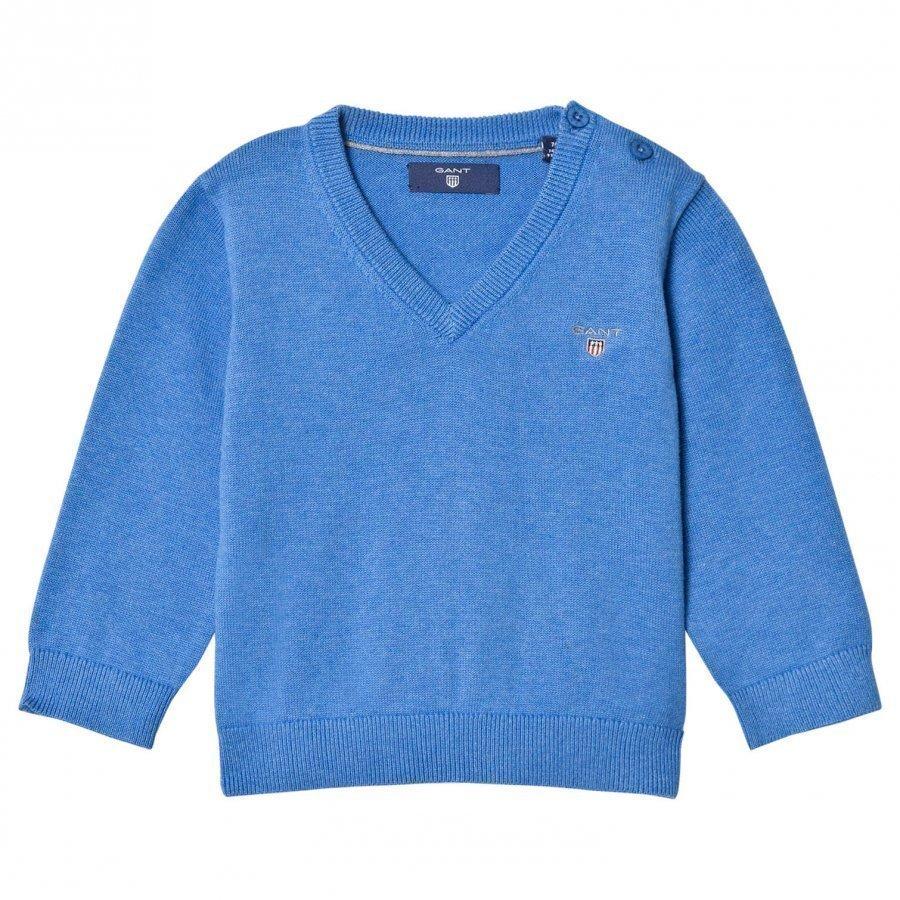Gant Blue Cotton V Neck Jumper Paita