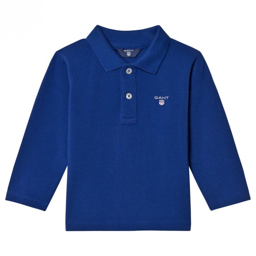 Gant Blue Shield Long Sleeve Pique Polo Pikeepaita