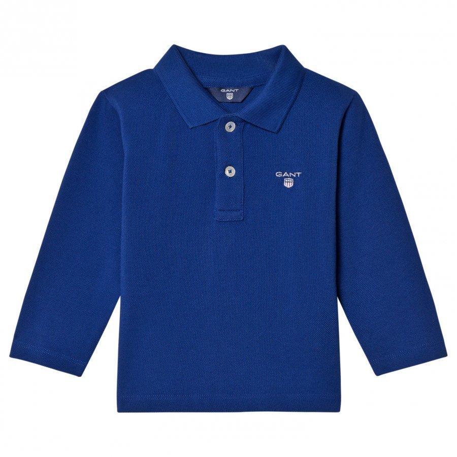 Gant Blue Shield Long Sleeve Pique Polo Pikeepaita