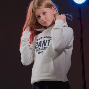 Gant Collegiate Gant Logo Hoodie Huppari Valkoinen