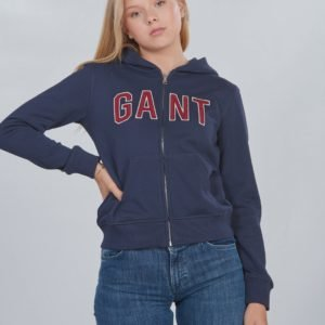Gant D1. Gant Logo Full Zip Hoodie Huppari Sininen