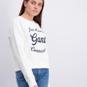 Gant Gant Script C Neck Sweat Neule Valkoinen