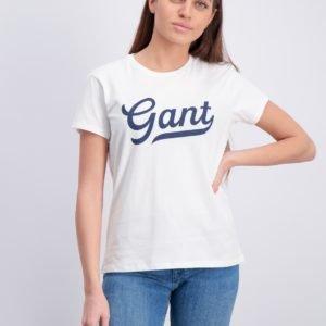 Gant Gant Script Logo T Shirt T-Paita Valkoinen