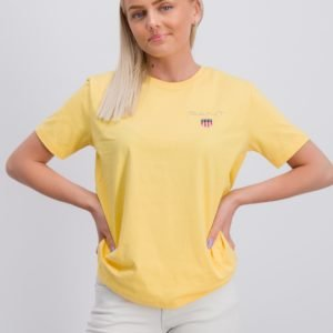 Gant Medium Shield T Shirt T-Paita Keltainen