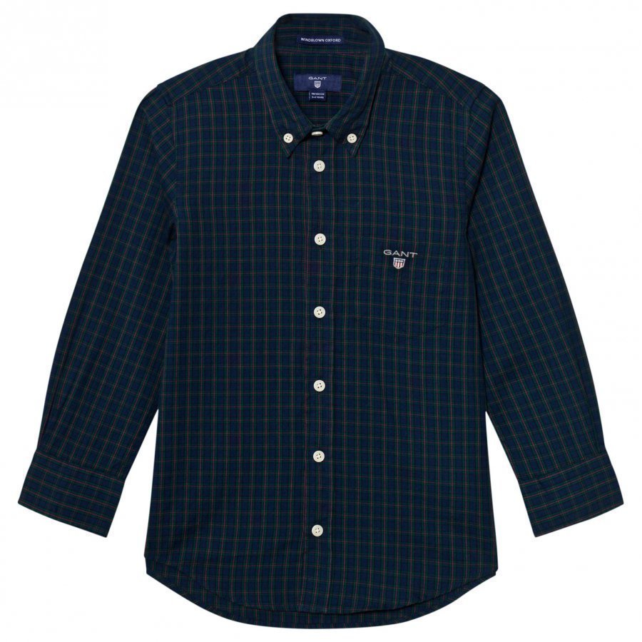 Gant Navy And Green Check Shirt Kauluspaita