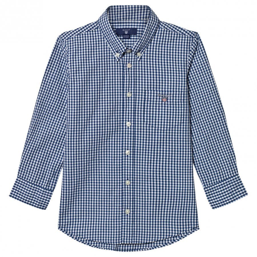 Gant Navy And White Gingham Shirt Kauluspaita