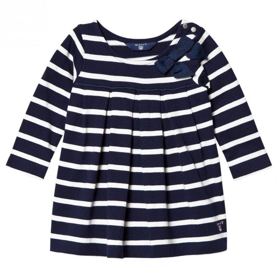 Gant Navy And White Stripe Jersey Dress With Bow Mekko