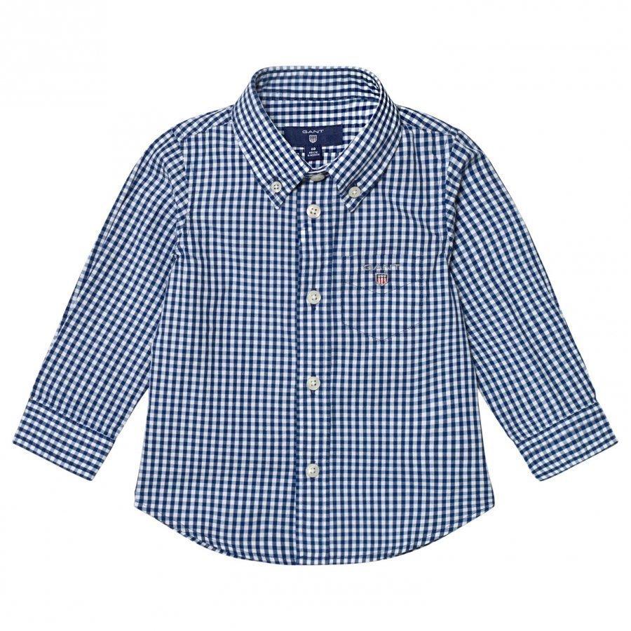 Gant Navy Classic Gingham Oxford Shirt Kauluspaita