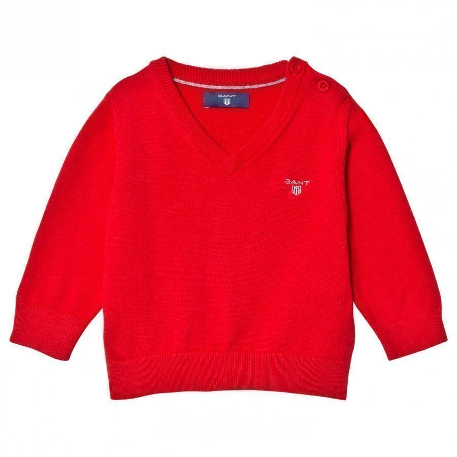 Gant Red Cotton V Neck Jumper Paita