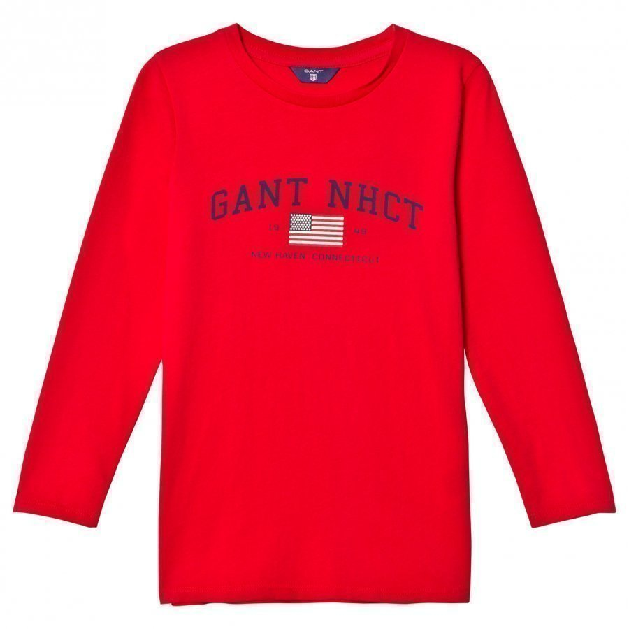Gant Red Nhct Logo Long Sleeve Tee T-Paita