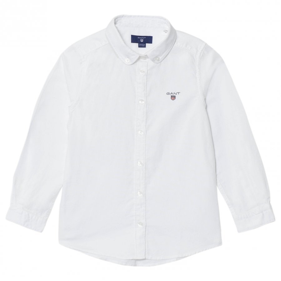 Gant White And Navy Spot Oxford Shirt Kauluspaita