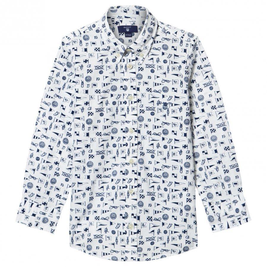Gant White Multi Flag Print Shirt Kauluspaita