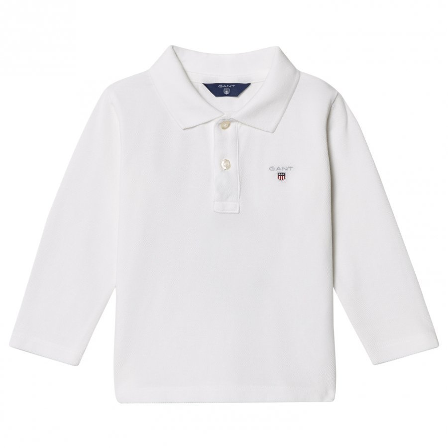 Gant White Shield Long Sleeve Pique Polo Pikeepaita